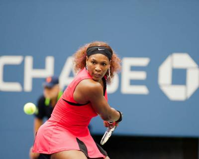 Serena Williams would be happy to take on Andy Murray on a tennis court after the Olympic champion said he would fancy a match against the 16-time Grand Slam winner … but just for fun.